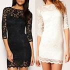 Sexy Women Lace Slash Neck 3/4 Sleeve Pencil Slim Casual Cocktail Party Dress