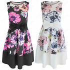 NEW WOMENS LADIES BOW FRONT FLORAL SKATER SHIFT DRESS BLACK BOXY PLEATED SKIRT