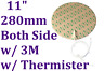 "11""  280mm Diameter 230V 280W Both Side w/ 3M NTC100K Thermister Silicone Heater"