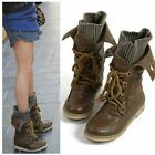 Women's Vintage Winter Motorcycle Martin Ankle Boots Knit Snow Boots Shoes
