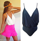 Women Spaghetti Strap Body Suit V Neck Backless Wrap Front Top Jumpsuit Clubwear