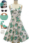 50s Style TEAL Rose Floral BOUQUET on White Fold Over Bust PEGGY SUE Sun Dress