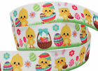 "3m of 22mm 7/8"" Happy Easter Bunny Chick Bonnet Grosgrain Arts Crafts Ribbon"