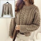 Cozy Braided Chunky Cable Knit Women Sweater Twist Jumper Pullover Knitwear Top