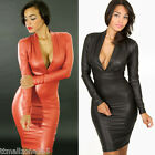 Womens V-neck Faux Leather Bodycon Bandage Party Club Evening Dress Long Sleeve