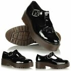 Ladies Flat Casual Chunky T Bar Mary Jane Platform Brogues School Creepers Shoes
