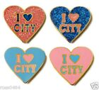 Manchester City Badge I LOVE CITY Exclusive Glitter Heart