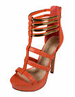 Private Paprika PeepToe Strappy Platform Ankle High Heel Coral Snake Leatherette