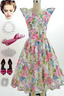 50s Style White PASTEL FLORAL Print WINGED Bust SPACE AGE Pinup VLV Day Dress
