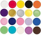 """16 x 9"""" ROUND Paper PLATES (22cm) Plain Solid Colours Birthday Party Tableware"""