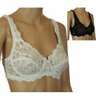 Lace Underwired Bra Black or White Marlon Ladies Designer Non Padded
