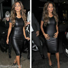 New Sexy Cap Sleeve Faux Leather Look PVC Bodycon Strech Midi Party Dress