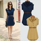 2015 Fashion Womens Cap Sleeve Stretch Chiffon Casual OL Shirt Mini Dress U Pick