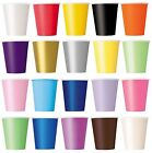 14 Paper CUPS (266.2ml) - Plain Solid Colours Birthday Party Tableware Catering