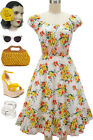 50s Style YELLOW BOUQUET FLORAL PINUP Peasant Top On/Off t/Shoulder Dress