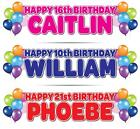 2 PERSONALISED BIRTHDAY BANNERS  1st 5th 16th 18th 21st 30th 40th 50th BALLOONS
