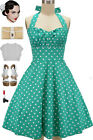 50s Inspired TURQUOISE with White POLKA DOTS Pinup Betty HALTER TOP Sun Dress