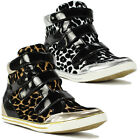 New Ladies Womens High Hi Top Animal Print Trainers Pumps Flat Ankle Boots Shoes