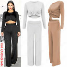 LADIES LONG SLEEVE KNOT CROP TOP PALAZZO TROUSERS SUIT WOMENS 2 PIECE CO ORD SET