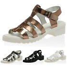 NEW LADIES T-BAR STRAP WOMENS BUCKLE OPEN TOE FLATS JELLIES SANDALS SHOES 3-8