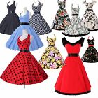 RED 1950s 60s Fashion Retro Dresses Rockabilly Pinup Swing Evening Vintage Dress