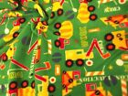 QUALITY Printed Anti Pil Polar Fleece Fabric Material - BUILDING TRUCKS GREEN