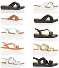 Womens ladies summer flat crossover straps mules sliders diamante sandals size