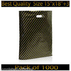 15''x18''+3 Black and Gold Striped Fashion Gift Shop Plastic Carrier Bags