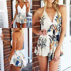 Sexy Women Backless Cross Strap V Neck Floral Lace Romper Jumpsuit Excellent