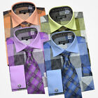 Avanti Uomo Check Dress Shirt & Tie Set French Cuffs Blue, Lilac, Olive, Peach