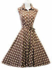 New Vtg Retro 1940's Mocha Beige Polka Dot Shirt Tea Dress by Rosa Rosa