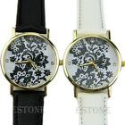 Womens Chic White Black Round Quartz Analog Fashion Dress Bracelet Wrist Watch