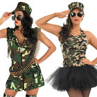 Ladies Sexy Army Girl Fancy Dress Costume + Hat - Womens Uniform Soldier Outfit