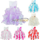 Scoop sleeveles Dress Wedding Ruffle Flower Girls Pageant Party Formal Occasion