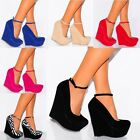 WOMENS PLATFORMS ANKLE STRAP COURT SHOES WEDGED WEDGES HIGH HEELS SIZE 3-8