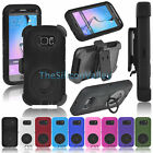 Rugged Hybrid Impact Hard Case Soft Cover Clip Holster for Samsung Galaxy S6