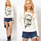 Trendy Women Casual Pullover Owl Print Round Neck T-shirt Long Sleeve Top Blouse