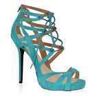 NEW LADIES STILETTO SANDALS WOMENS CUT OUT LACE UP HIGH HEEL SHOES SIZE 3-8