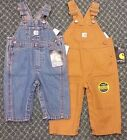 Carhartt Bib Work Overalls for Baby, Kids, Toddler - Denim or Brown 3M-8M 3T-4T