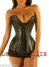 Genuine Leather DOUBLE STEEL BONED corset basque bustier 8258