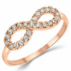 14K Solid Rose Pink Gold CZ Cubic Zirconia Infinity Ring Band