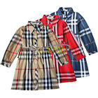 Girls Kids Toddler Plaid Checks Long Sleeve Top Dress Spring Summer Clothes 3-7Y