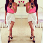 Modern Rose Trends High Waisted  Draped Asymmetric Stretch Low Mini MaxiSkirt
