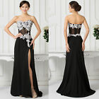 Black&White Applique MOTHER Evening Split Long Prom Dress Wedding Cocktail Gowns