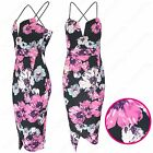 NEW LADIES STRAPPY PINK FLOWER MIDI DRESS WOMEN SPLIT HEM LOOK CAMI VEST BODYCON