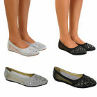 Ladies Flat Pointed Toe Diamante Mesh Trim Ballerina Dolly Shoes Bridal Size 3-8