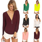 Lady Party Evening Cocktail Mini Sexy Chiffon V-neck Long Sleeved T-shirt Blouse