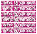 Pink Sparkle Birthday Foil BANNERS (2.7m/9')(Choice of Age) Party Decoration RM