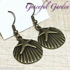 ER2820 Graceful Garden Vintage Style Starfish on Shell Dangle Hook Earrings