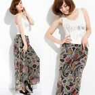 Multicolor Amoeba Chiffon Elastic Waist Womens Wide Leg Palazzo Pants Trousers